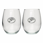 Snowboarder White Pewter Accent Stemless Wine Glass Goblets, Set of 2