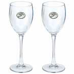 Snowboarder White Pewter Accent Wine Glass Goblets, Set of 2