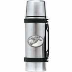 Snowboarder White Stainless Steel Thermos with Pewter Accent
