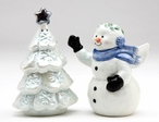 Snowman and Christmas Tree Porcelain Salt and Pepper Shakers, Set of 4
