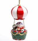 Snowman in a Hot Air Balloon LED Musical Tree Ornaments, Set of 2