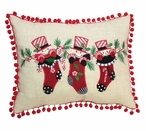 Snowman in Stockings with Tassels Rectangle Throw Pillows, Set of 2
