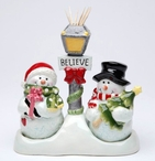 Snowman Porcelain Salt and Pepper Shakers by Laurie Furnell, Set of 4