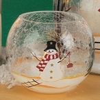 Snowman Hand Painted Crackle Glass Tea Light Candle Holders, Set of 6
