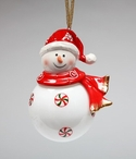 Snowman Wearing a Santa Hat Christmas Tree Ornaments, Set of 4