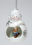 Snowman with Child Snowboarding Christmas Tree Ornaments, Set of 4