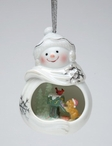 Snowman with Dog and Cardinal Bird Christmas Tree Ornaments, Set of 4
