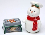 Snowman with Grill Porcelain Salt and Pepper Shakers, Set of 4