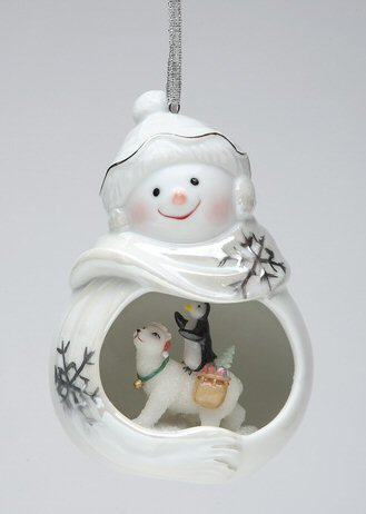 snowman with penguin and polar bear christmas tree ornaments set of 4