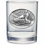 Snowmobile Pewter Accent Double Old Fashion Glasses, Set of 2