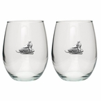 Snowmobile Pewter Accent Stemless Wine Glass Goblets, Set of 2