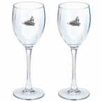Snowmobile Pewter Accent Wine Glass Goblets, Set of 2