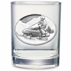 Snowmobile White Pewter Accent Double Old Fashion Glasses, Set of 2