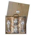 Snowmobile White Pilsner Glasses & Beer Mugs Box Set w/ Pewter Accents