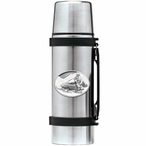Snowmobile White Stainless Steel Thermos with Pewter Accent