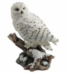 Snowy Owl Bird Perching on a Branch Sculpture