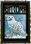 Snowy Owl Bird Stained Glass Welcome Wall Art