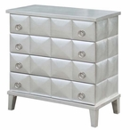 SoHo Pyramid Front 4 Drawer Silver Leaf Wood Chest