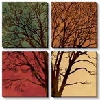 Solitaire Trees Wrapped Canvas Giclee Print Wall Art, Set of 4