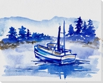 Solitary Boat Wrapped Canvas Giclee Print Wall Art