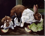 Something New Three Rabbits Wrapped Canvas Giclee Print Wall Art