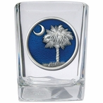 South Carolina Palmetto #2 Blue Pewter Accent Shot Glasses, Set of 4