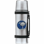 South Carolina Palmetto #2 Blue Stainless Steel Thermos with Pewter