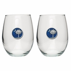 South Carolina Palmetto Blue Pewter Stemless Wine Goblets, Set of 2
