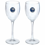 South Carolina Palmetto Blue Pewter Wine Glass Goblets, Set of 2