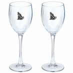 Southwest Coyote Pewter Accent Wine Glass Goblets, Set of 2
