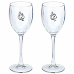 Southwest Lizard Pewter Accent Wine Glass Goblets, Set of 2