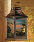 Special Memories Outdoor House Scene Metal Candle Lantern