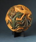 Sphere with Reptiles Tessellation Statue by M.C. Escher