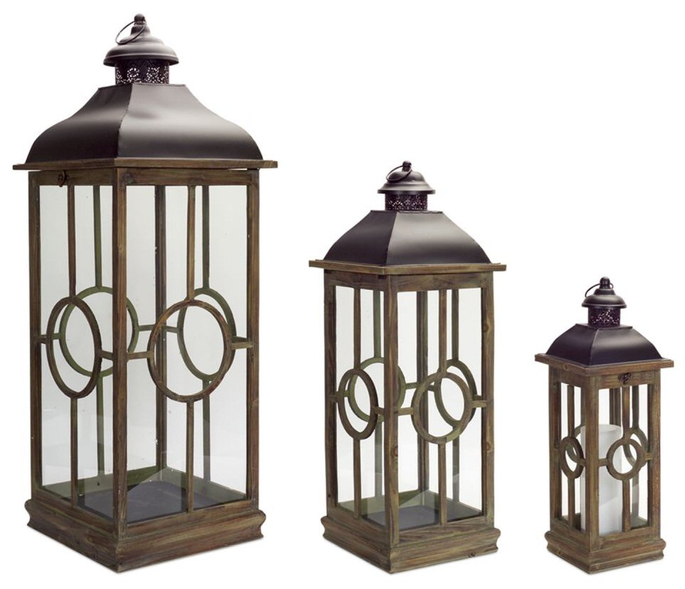 spiral metal and wood candle lanterns candle holders set of 3 candle accessories melrose. Black Bedroom Furniture Sets. Home Design Ideas