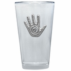 Spirit Hand Pint Beer Glasses with Pewter Accent, Set of 2