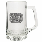Spirit Pony Glass Super Beer Mug with Pewter Accent