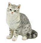 Spotted Gray American Shorthair Tabby Cat Sculpture