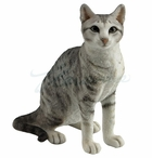 Spotted Gray Shorthair Tabby Cat Sculpture