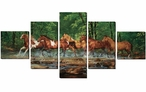 Spring Creek Run Wild Horses Wrapped Canvas Giclee Wall Art, Set of 5