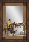Spring Roundup Cowboy on His Horse Wall Mirror with Wood Frame