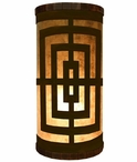 Square Pattern Metal Cylinder Pillar Table Lamp