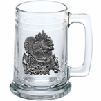 Squirrel Glass Beer Mug with Pewter Accent