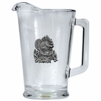 Squirrel Glass Pitcher with Pewter Accent
