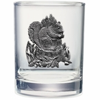 Squirrel Pewter Accent Double Old Fashion Glasses, Set of 2