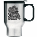 Squirrel Stainless Steel Travel Mug with Handle and Pewter Accent