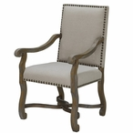 St. James Linen and Wood Chair with Nail Head Trim