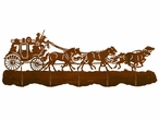Stagecoach with Horses Scenic Five Hook Metal Wall Coat Rack