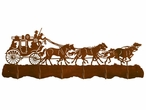 Stagecoach with Horses Scenic Six Hook Metal Wall Coat Rack