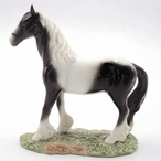 Standing Black and White Horse Figurine Sculpture