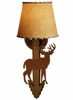 Standing Deer Arrow Metal Wall Sconce with Shade